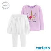【美國 carter s】粉紫獨角獸紗裙2件組(12M-18M)-台灣總代理