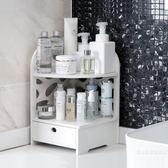 木塑板置物架帶抽屜多層三角架浴室衛生間牆角儲物收納架 【快速出貨八五折鉅惠】