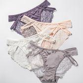 (4入)女生內褲女100%棉質襠厚款蕾絲性感透明舒適大尺碼中腰三角褲