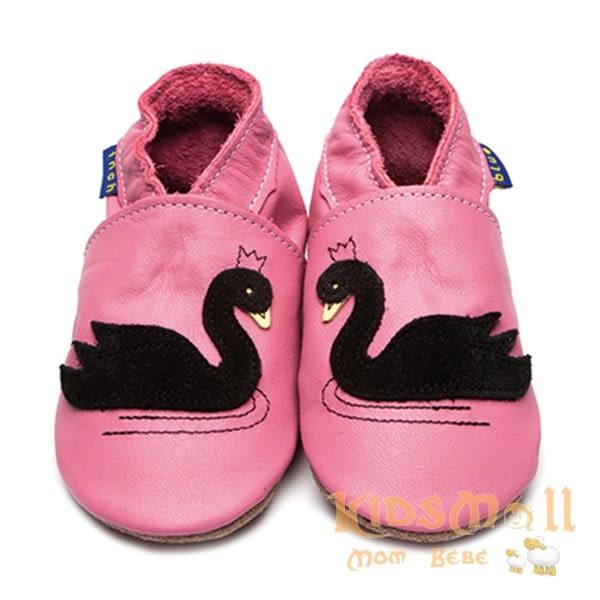英國製Inch Blue,真皮手工學步鞋禮盒,Swan-Rose Pink/Black
