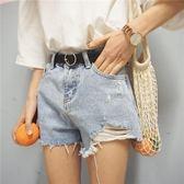 寬鬆個性磨破淺色牛仔褲高腰闊腿褲短褲顯瘦