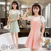 韓版吊帶裙可愛馬卡龍色系兩件式連身裙 O-Ker歐珂兒 LL20108-C