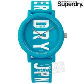 Superdry 極度乾燥SYL196UW 雙色炫彩品牌LOGO 矽膠手錶藍色38mm