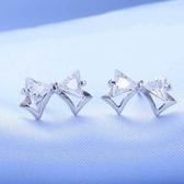 耳環 925純銀水晶-蝴蝶結造型情人節生日禮物女飾品73hk40【時尚巴黎】