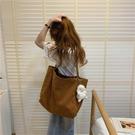 購物包 文藝復古日系單肩包慵懶韓風手拎環保購物袋簡約帆布包女學生布袋【快速出貨八折鉅惠】