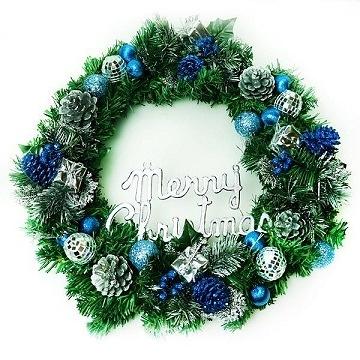 【南紡購物中心】【聖誕限定】16吋豪華高級聖誕花圈(藍銀色系)(台灣手工組裝出貨)
