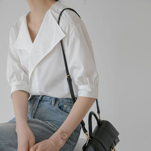 襯衫 上衣冷淡風襯衣小眾白色襯衫女新款年法式短袖復古上衣 GD711 胖妹大碼女裝