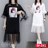 中大尺碼 歐美女孩荷葉邊網紗拼接短袖連衣裙 M-3XL O-ker歐珂兒 16916-1-C