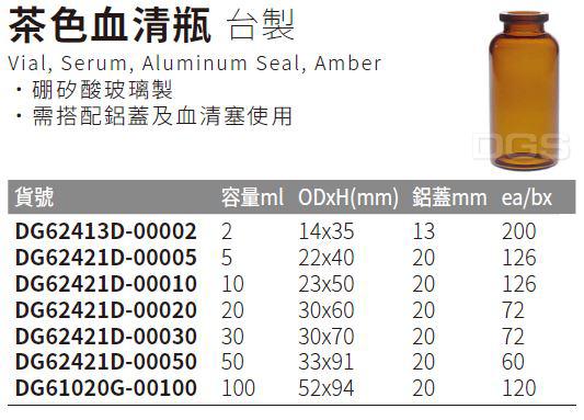 《台製》茶色血清瓶 Vial, Serum, Aluminum Seal, Amber