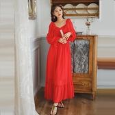 長洋裝 度假裙法式交叉綁帶紅裙子茶卡鹽湖旅拍雪紡長袖大擺連身裙沙漠度假長裙NE440依佳衣