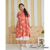 【Tiara Tiara】熱情玫瑰花圖騰短袖洋裝(灰綠/橘紅)