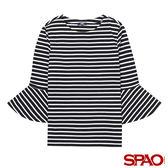 SPAO女款條紋喇叭寬袖上衣-共2色