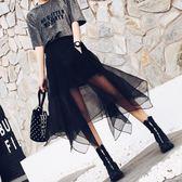 中長款黑色百褶裙不規則網紗蓬蓬裙a字裙