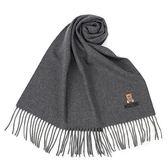 MOSCHINO 義大利製羊毛小熊圖騰字母LOGO刺繡圍巾(深灰色)911001-015
