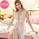 睡衣 『加大尺碼』天使氣息 透膚薄紗罩衫長版高衩性感睡衣(白)Daima黛瑪