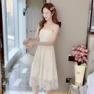 復古溫柔風吊帶裙甜美蕾絲連身裙女夏桔梗法式小眾初戀仙女裙超仙 快速出貨