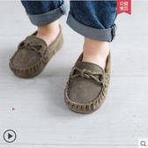兒童豆豆鞋加絨春秋軟底嬰兒冬鞋保暖女童單鞋英倫男童寶寶小皮鞋 晴天時尚