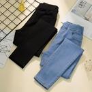 春季牛仔褲鬆緊腰直筒鉛筆褲潮 黛尼時尚精品
