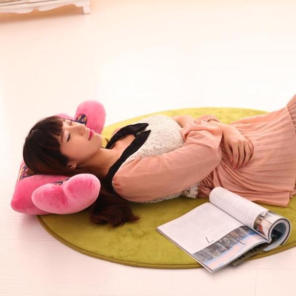 辦公室護腰靠墊可愛卡通抱枕腰枕椅子汽車腰靠枕靠背床頭靠墊布娃 七色堇