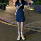 洋裝 2021新款夏季復古V領短袖法式連身裙女裝裙子顯瘦氣質收腰牛仔裙
