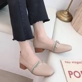 粗跟鞋 單鞋女中跟小皮鞋新款淺口奶奶鞋百搭復古仙女 - 雙十二交換禮物