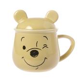【Disney 迪士尼】微笑維尼造型馬克蓋杯-奶油色