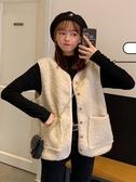 秋冬新款復古寬鬆仿羊羔毛上衣外穿無袖背心馬甲外套女裝學生 喵可可