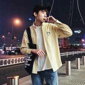 2018春季新款男士個性長袖襯衫男韓版寬鬆條紋襯衣服學生休閒外套 免運直出 交換禮物