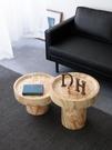 北歐實木圓形茶幾客廳沙發邊幾創意根雕樹墩原木墩子民宿酒店角幾【頁面價格是訂金價格】