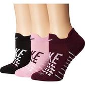 Nike耐吉- 女3包組圖形運動襪(黑/粉紅色)