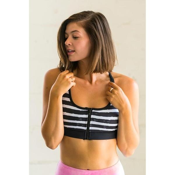 【南紡購物中心】【Flexi Lexi】Chic Stripes Flexi Front Zipper Sports Bra 運動內衣