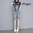 背帶短褲 歐洲站牛仔背帶短褲女寬松顯瘦夏季新款闊腿可愛破洞吊帶褲潮 寶貝計書