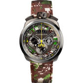 BOMBERG 炸彈錶 BOLT-68 CAMO KHAKI 軍事計時手錶-45mm BS45CHPGM.038.3