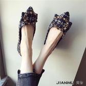 好康618 韓版女鞋粗呢子水鉆方扣尖頭淺口軟底鞋
