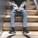 褲子男韓版潮流牛仔褲chic寬鬆休閒男生bf風九分直筒毛邊褲子 koko時裝店