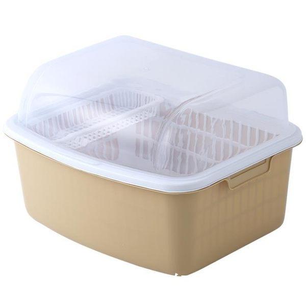 餐具收納盒 家用裝碗筷瀝水籃廚房帶蓋碗柜碟子餐具置物架-超凡旗艦店