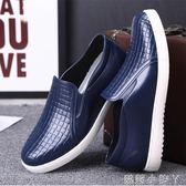 低筒水鞋男士青年短筒雨鞋時尚款防水防滑廚房用鞋膠鞋廚師工作鞋 蘿莉小腳ㄚ