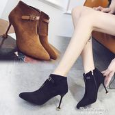 韓版鏤空尖頭女靴裸靴2017秋冬新款皮帶扣絨面高跟鞋貓跟細跟短靴·蒂小屋