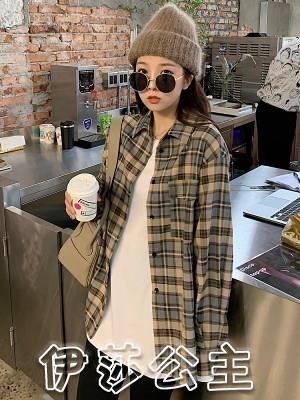 格子衫 蘇格蘭格子襯衫女秋款年外穿百搭寬鬆韓版長袖上衣設計感襯衣-17