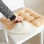 坐墊可愛糖果色花朵坐墊超粉嫩羊羔絨軟綿綿超舒適辦公室坐墊毛絨椅墊JD聖誕交換禮物