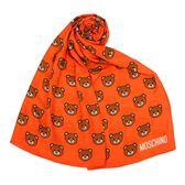 MOSCHINO 經典滿版TOY小熊莫代爾材質薄圍巾(橘色)911007-005