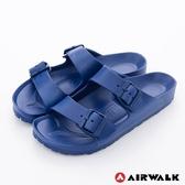 AIRWALK AB拖休閒雙扣環多功能室內外拖鞋-深藍
