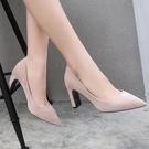 【35-43全尺碼】高跟鞋.百搭簡約絨布尖頭粗跟包鞋.白鳥麗子