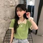 夏季2020年新款韓版寬鬆設計感polo領針織衫短款上衣短袖t恤女夏 Korea時尚記