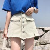 褲子女裝夏裝假兩件寬鬆高腰顯瘦A字學生百搭牛仔褲短褲 優家小鋪