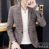 秋裝男士格子小西裝韓版修身外套男青年潮流西服休閒上 優尚良品