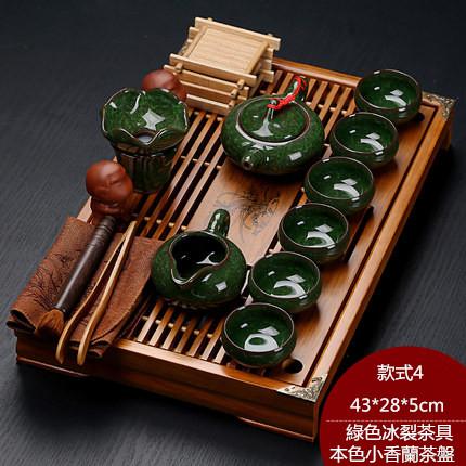 紫砂陶瓷功夫茶具套裝家用茶杯簡約辦公實木小茶盤抽屜式茶台整套