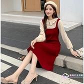 洋裝 連衣裙2020新款法式女裝紅色收腰打底秋冬毛衣裙子赫本假兩件針織
