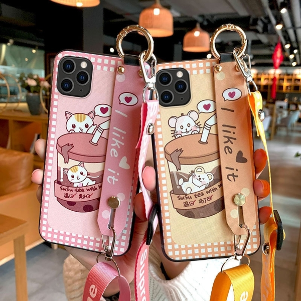 SamSung N10/N9/N8奶茶腕帶保護套 三星S20/S10/S9/S8 Plus保護殼 Galaxy S20 Ultra手機套 三星note20手機殼