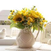 歐式田園風 奶白色陶瓷壺花瓶 簡歐浮雕圖案餐桌插花瓶 單耳奶壺   居家物語